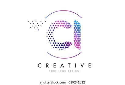 CI C I Pink Magenta Dotted Bubble Letter Logo Design. Dots Lettering Vector Illustration