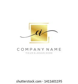 CI handwriting initial logo template vector.