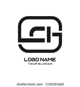 CI initial box letter logo template vector