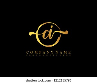 CI initial handwriting logo circle template vector