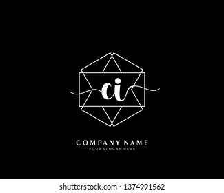 CI initial handwriting logo geometric template vector