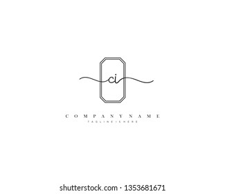 CI initial handwriting logo template vector