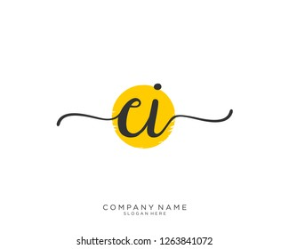 CI Initial handwriting logo vector