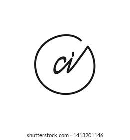 CI initial signature logo. handwriting logo template vector,