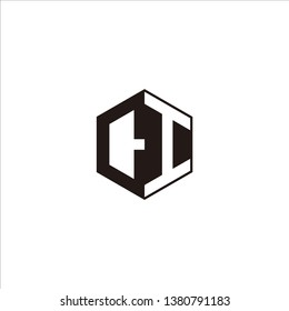 CI Logo Initial Monogram Negative Space Designs Modern Templete with Black color and White Background
