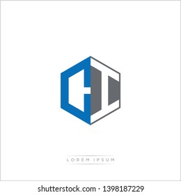 CI Logo Initial Monogram Negative Space Design Template With Blue and Grey color