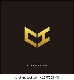 CI Logo Letter Initial Logo Designs Templete with Gold and Black Background
