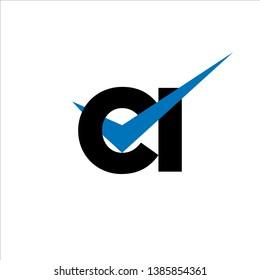 CI Logo Modern of Letter Tick Blue Initial Capital Designs Template