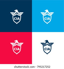 CIA shield symbol with an eagle four color material and minimal icon logo set in red and blue