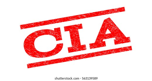 CIA watermark stamp. Text caption between parallel lines with grunge design style. Rubber seal stamp with scratched texture. Vector red color ink imprint on a white background.