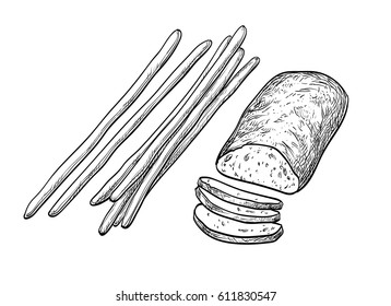 Ciabatta and bread sticks. Isolated on white background. Hand drawn vector illustration. Retro style.