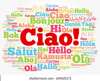 Hello word cloud different languages world stock vector royalty ciao hello greeting in italian word cloud in different languages of the world m4hsunfo