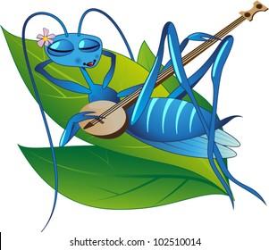 Cicada with a banjo lying on a leaf