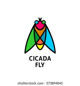 Cicada colorful symbol. Insect top view logo.
