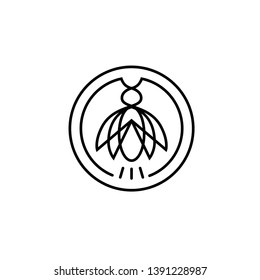 cicada firefly insect pest circle line logo design