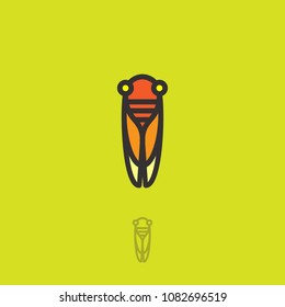 Cicada flat logo. Cicada icon. Linear logo. Yellow-orange small cicada on a green background. Monochrome option.