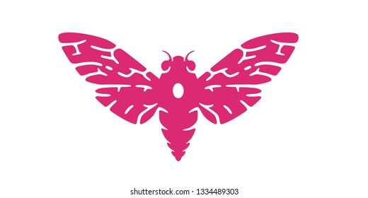 Cicada logo. Beetle. Simple cartoon design icon, emblem. Realistic silhouette. Butterfly. Flat style vector illustration.