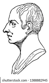 Cicero, 106 BC-43 BC, he was a Roman politician, lawyer, consul of the Roman Republic, and governor of the Roman province of Cilicia, vintage line drawing or engraving illustration