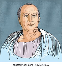Cicero (106-43 BC) portrait in line art illustration. He was a Roman politician, lawyer, consul of the Roman Republic and governor of the Roman province of Cilicia.