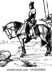 Cid Campeador, this scene shows a horse rider and soldiers walking behind him, vintage line drawing or engraving illustration