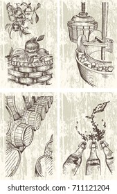 Cider Hand-drawn set. Cidermaking process illustrations in engraved style. Vector.
