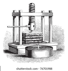 Cider Press, vintage engraving. Old engraved illustration of a Cider Press. Trousset Encyclopedia