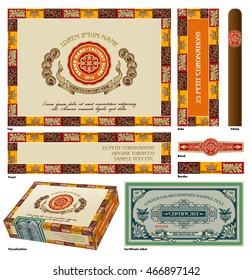 Cigar box design. A set of vector elements