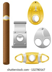 cigar and cutter vector illustration isolated on white background
