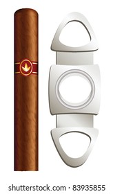 Cigar and guillotine. Vector illustration on white background.
