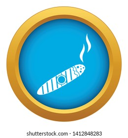 Cigar icon blue vector isolated on white background for any design