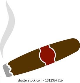 Zigarrensymbol. Flaches Farbdesign. Vektorgrafik.