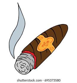 Cigar icon. Smoldering cigar. Vector illustration.