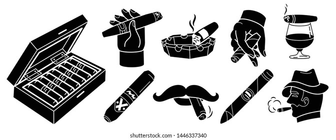 Cigar icons set. Simple set of cigar vector icons for web design on white background