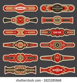 Cigar labels. Colorful vintage banded badges for cigar branding vector set