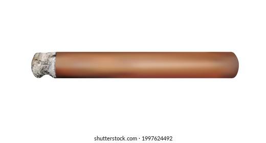 A cigar lit in a vector.A Havana cigar in a vector on a white background.A smoldering cigar in the vector.
