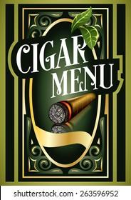 Cigar Menu Sign List Luxury Premium Cigarette Tobacco