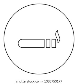 Cigar with smoke icon in circle round outline black
