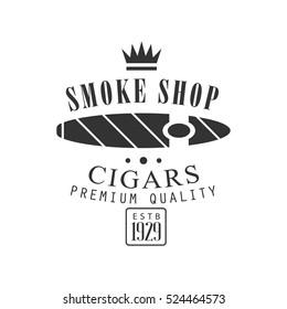 Cigar Smoke Shop Premium Quality Smoking Club Monochrome Stamp For A Place To Smoke Vector Design Template