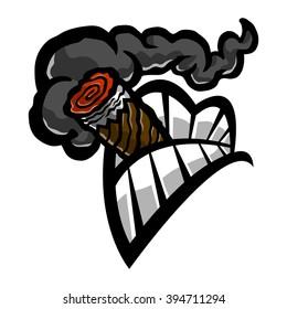 Cigar Smoking Mouth Teeth vector icon