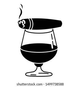 Cigar whiskey glass icon. Simple illustration of cigar whiskey glass vector icon for web design isolated on white background