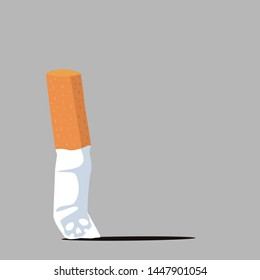 Cigarette butt  flat with ash vector