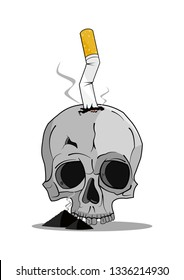 Cigarette butt on top of a human skull, surrounded by pile of ashes