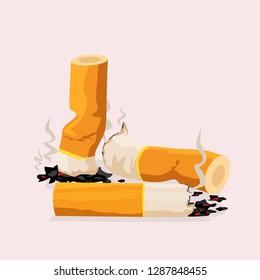 Cigarette butts cartoon