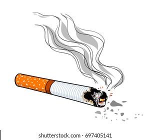 Cigarette cartoon hand drawn image. Original colorful artwork, comic childish style drawing.