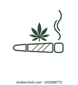 Cigarette with drug, marijuana cigarette rolled. Joint or spliff. Drug consumption, marijuana and smoking drugs abuse. Illegal drug activity. Legal and Recreational Marijuana. Medical cannabis. Vector