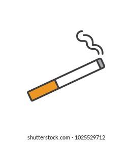 Cigarette flat line colored icon.
