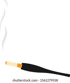 Cigarette holder, illustration, vector on white background.