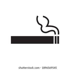 Cigarette icon, smoke icon isolated on white background. Flat design. Vector illustration.