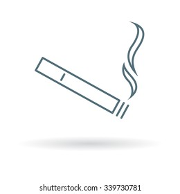Cigarette icon. Smoking sign. Tobacco symbol. Thin line icon on white background. Vector illustration.