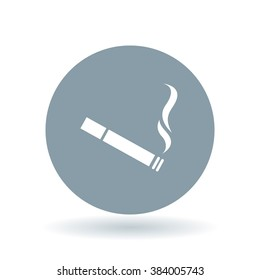 Cigarette icon. Tobacco sign. Smoking symbol. White icon on cool grey circle background. Vector illustration.
